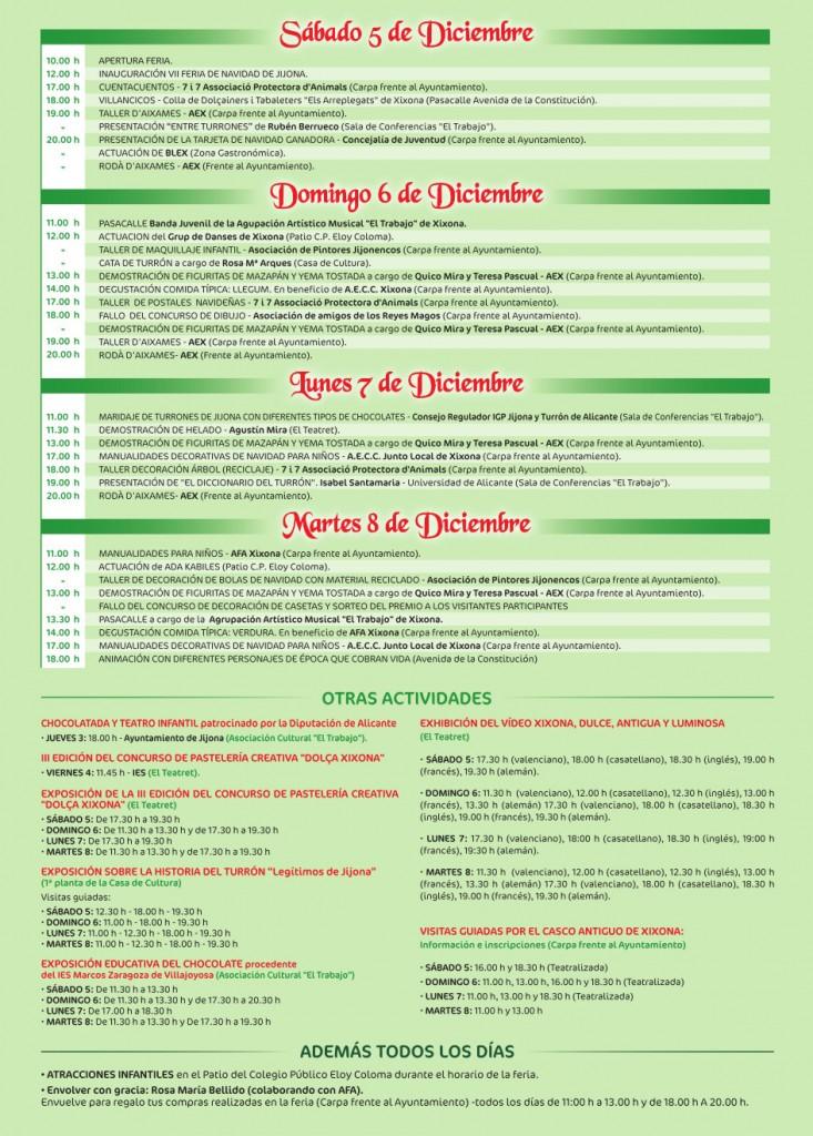 Programa de actos, VII Feria de Navidad de Jijona